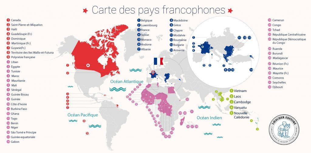 Carte des pays francophones